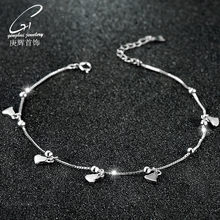 925 Sterling Accessories Anti-Allergy Anklet Women's Korean-style Fashion Heart Shape round Beads Foot Ornaments Bell Bracelets(China)