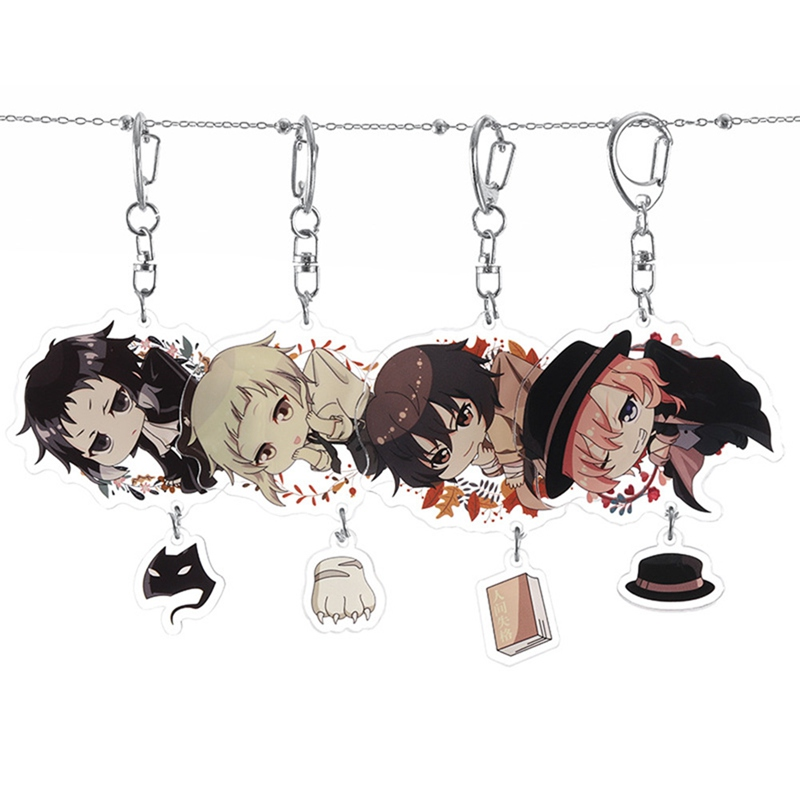Fashion Anime Bungou Stray Dogs Atsushi Acrylic Keychain 4 Styles Pendant Key Rings For Women Girl Cosplay Jewelry Gift