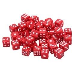 Dados acrílicos de 8mm, dados de juego de mesa estándar de seis lados, Blanco/Rojo/Negro, 100 Uds.