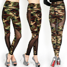 New Arrival Women High Waist Yoga Pants Sport Leggings Camouflage Fitness Pants Mesh Patchwork Stretchy Free Shipping