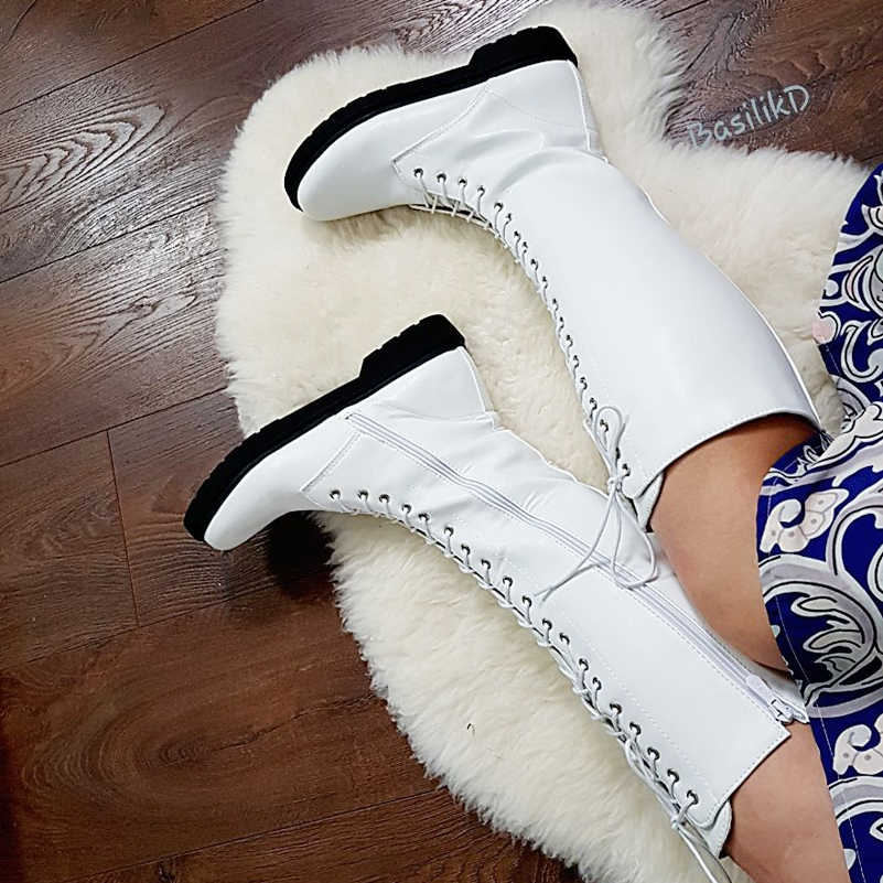 Meotina รถจักรยานยนต์ฤดูหนาวรองเท้าผู้หญิงรองเท้าบู๊ต PU หนังแบนเข่ารองเท้าบูทซิปรอบ Toe รองเท้ายาว Lady ฤดูใบไม้ร่วง 43