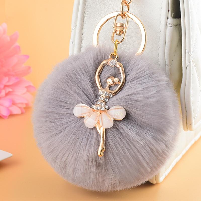 Fairy Fluffy Ball Keychain Dancing Girl Pompoms Rabbit Fur Keychains For Women Cartoon Pom Pom Key Chains Keyrings  Bag Pendant