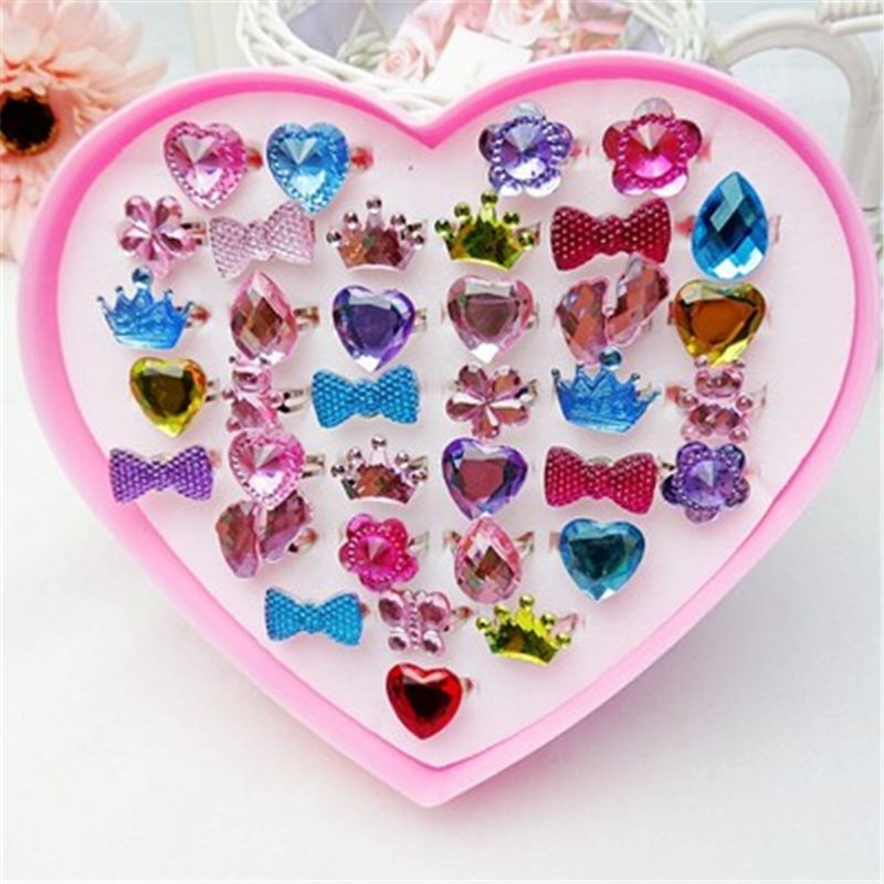1 Box Fancy Adjustable Gem Rings Princess Party Favors Kids Girls Gifts Action Figure Toy