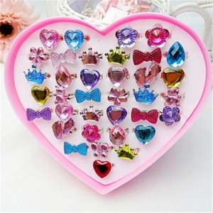 Gem-Rings Action-Figure-Toy Party-Favors Girls Gifts Adjustable Princess Kids 1-Box Fancy