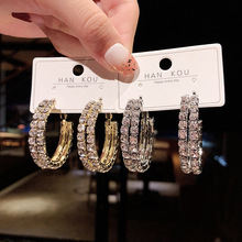pair of graceful rhinestone circle earrings jewelry for women Personality Design Geometric Circle Rhinestone Earrings Retro Fashion For Women Ear Jewelry Party/Banquet Accessories