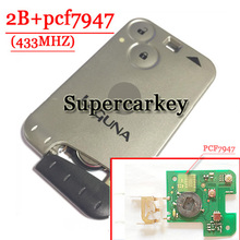 Free shipping 2 Button 433MHZ  pcf7947 chip remote card  for Renault Laguna Espace Velsatis card with logo  (1piece)