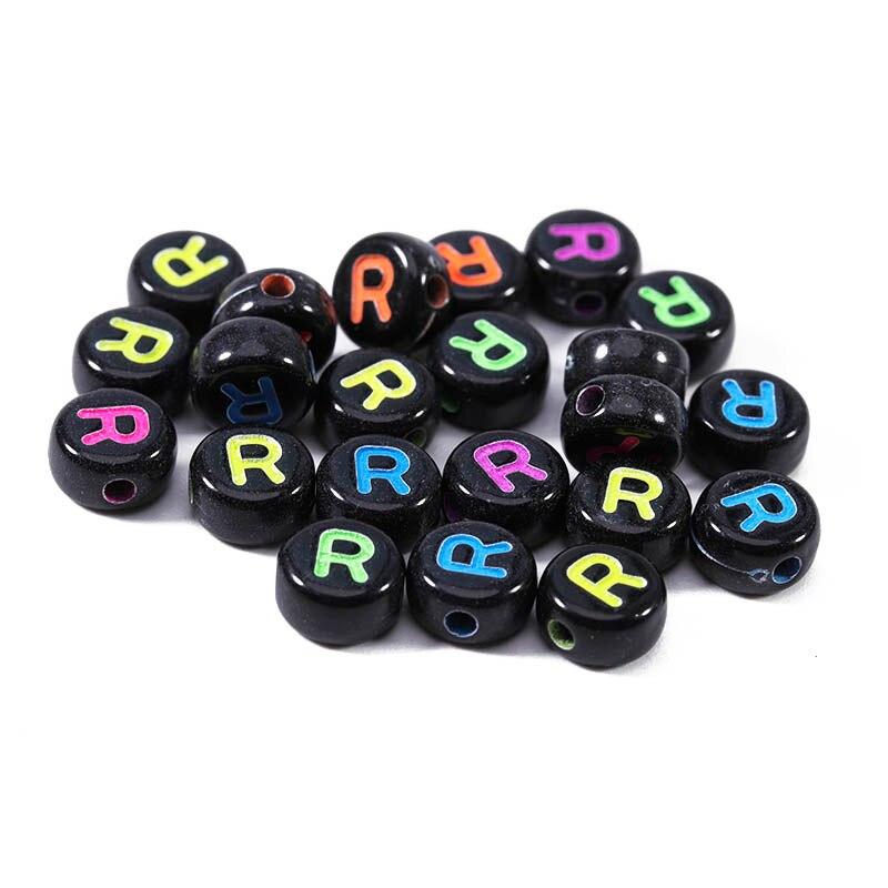 100 шт/лот акриловые круглые буквы бусины для изготовления ювелирных