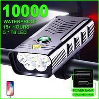 Luz Led frontal para bicicleta de 10000mAh, linterna recargable por USB de 3000LM, resistente al agua, linterna
