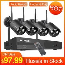 Techege 4CH CCTV inalámbrico sistema H.265 registro de Audio 2MP 4CH NVR Kit impermeable movimiento al aire libre de detección Kit de videovigilancia