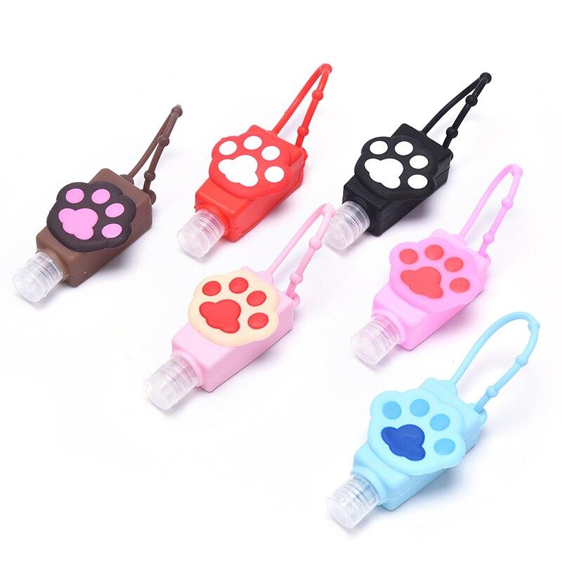 Cat's paw shape Silicone Hand Sanitizer Holder Travel Portable Safe Gel Holder Hangable Liquid Soap Dispenser Containers