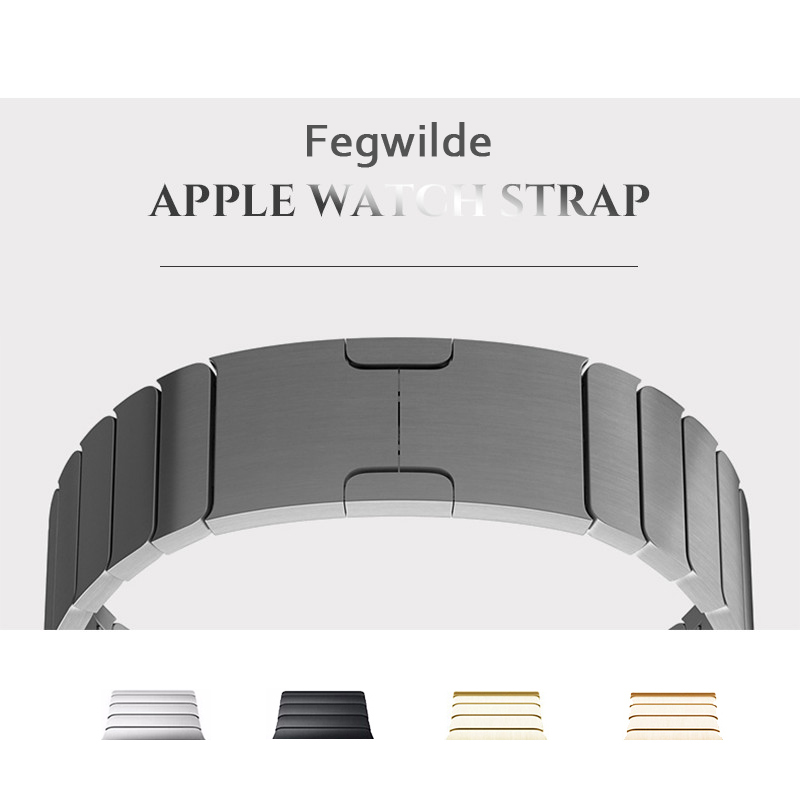 Stainless Steel link strap for Apple Watch band 4 44mm 40mm Steel strip iwatch 5 4 3 band 42mm 38mm 36L metal watchband Bracelet image