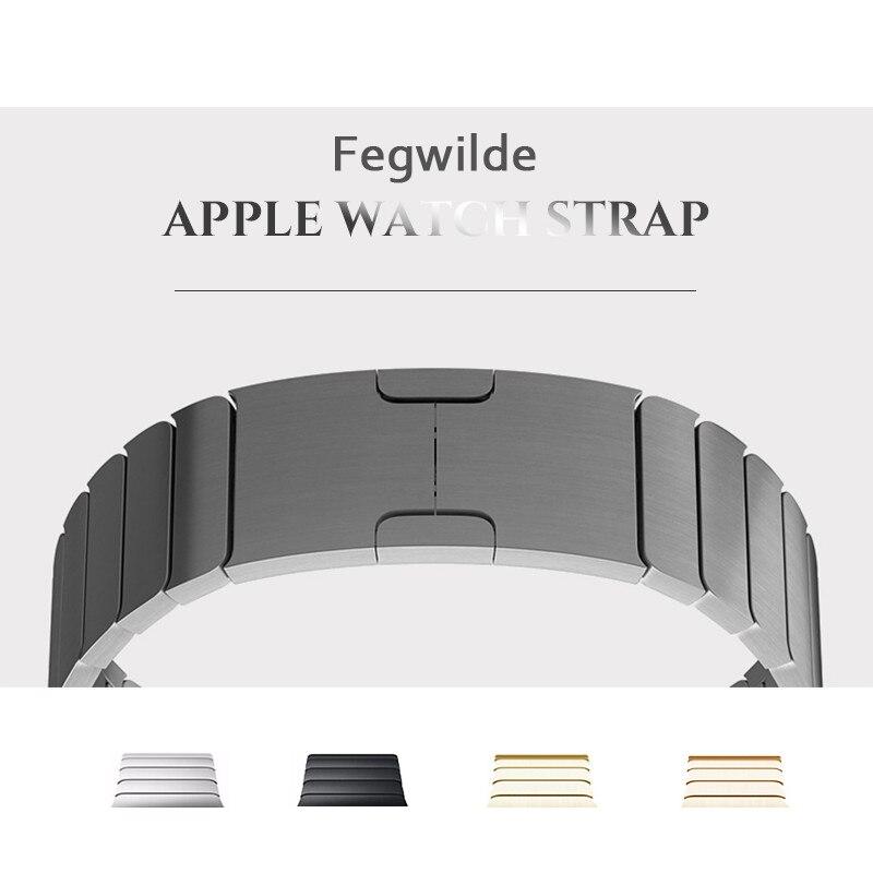 Ligação De Aço inoxidável faixa de Relógio cinta para Apple 4 44mm 40mm 3 4 5 iwatch tira de Aço banda 42mm 38mm 36L metal pulseira Pulseira