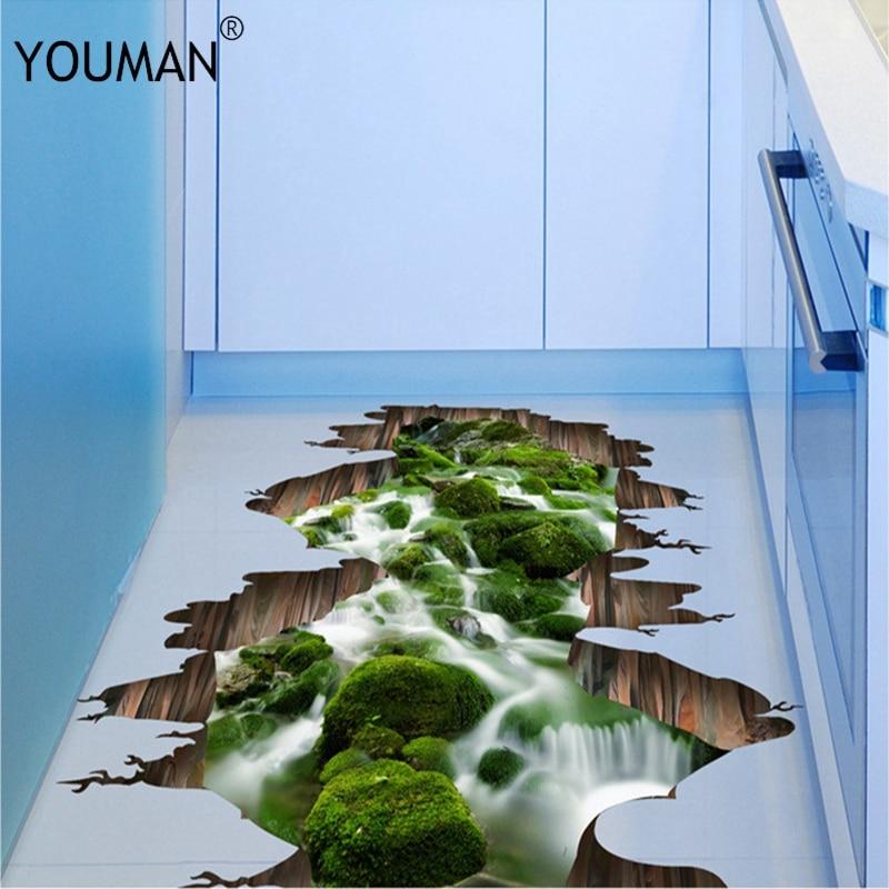 Wallpapers Youman Hot 3D  Floor Stickers Vinyl Material Living Room Bedroom Bathroom Wallpaper Decoration Sticker Home Decor
