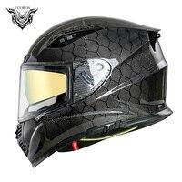 Vcoros VF-602 Carbon Fiber Full Face Motorcycle Helmet Man Motorbike Helmet With Double Lens Casco Moto capacete de motoci DOT