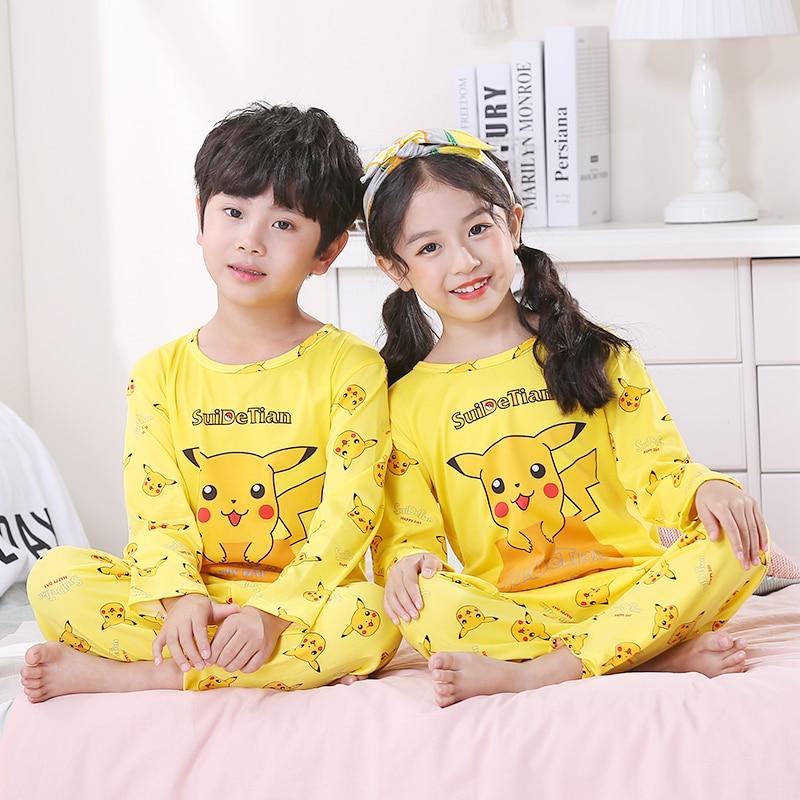 2020 Spring Autumn Children Cute Pajamas Thin Carton Unisex Sleepwear Girls Loungewear Kids Pyjamas Boy Set Long Top+ Pant