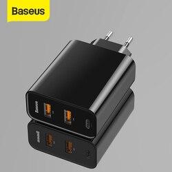 Baseus 3 порта USB быстрое зарядное устройство 60 Вт поддержка Type-C PD Быстрая зарядка QC 4,0 3,0 зарядное устройство для телефона Быстрая зарядка 3,0 USB C ...