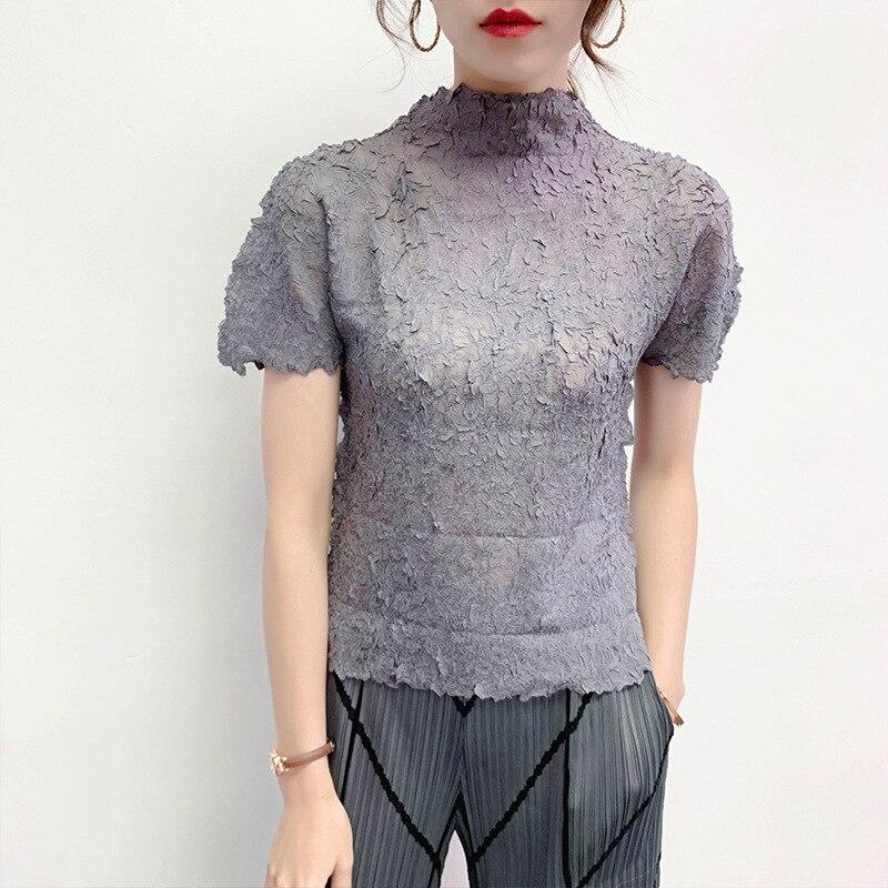 Lanmrem alta qualty pelado topos para as mulheres 2020 verão nova moda manga curta meia gola alta elástica camiseta famaleyj762