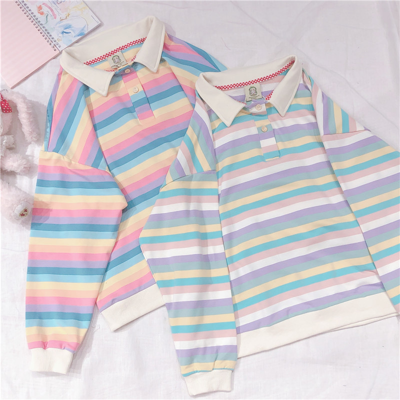 Korean Harajuku Cute Rainbow Stripe Long Sleeve Hoodies Japanese Young Girl Student Women's Pullover Polo Collar Sweatshirt
