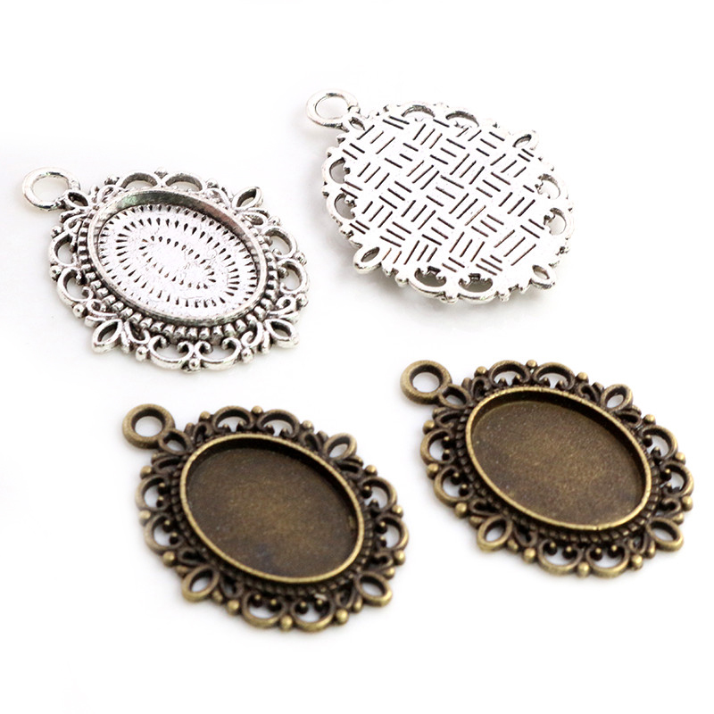 10pcs 13x18mm Inner Size Antique Silver Plated And Bronze Cameo Cabochon Base Setting Charms Pendant Necklace Findings