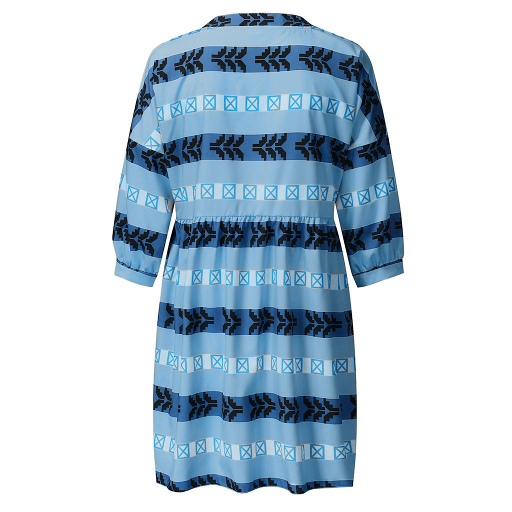 H5506b1f3f4fa4a3a82c7b01373baaa61A 2019 Women boho Dress Half Sleeve Print V-Neck Party Mini Dress Elegant vestidos de festa Women Dresses ropa mujer NEW