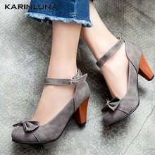 Karinluna Large Size 48 Sweet Bow Tie 2020 High Heels Mary Janes Woman Shoes Pumps(China)
