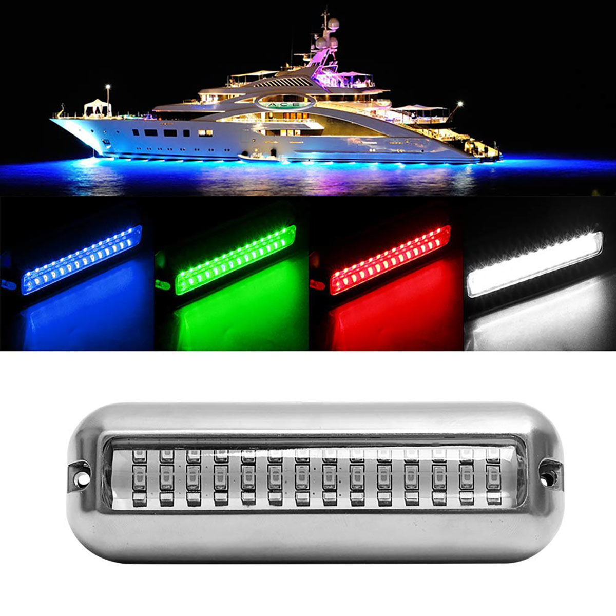 50W Stainless Steel Fishing Boat LED Underwater Pontoon Ocean Ship Beam Yacht Stern Fishing Flood Night Light Pool Accessories