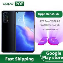 OPPO Reno 5 5G telefon komórkowy 6.43 calowy ekran 90Hz Snapdragon 765G Octa Core 65W Super ładowanie odblokowanie twarzą Google Play
