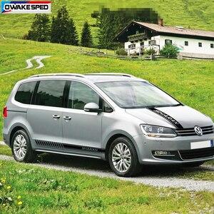 Image 2 - 1 set di Sport Strisce Minigonne laterali Auto Hood Bonnet Sticker Per Volkswagen Sharan Auto Corpo Decorazione Della Decalcomania Del Vinile di Sintonia accessori