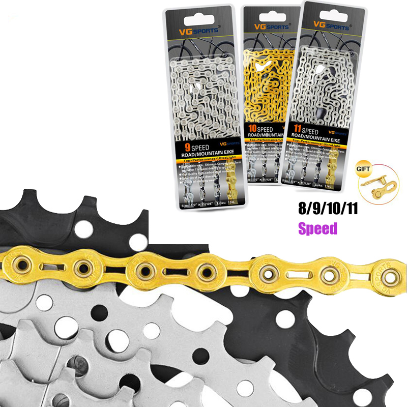 Racing Chain For Bicycle 9 10 11 Speed Chain Bike Half Hollow Chain MTB 116 Link