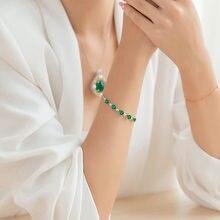 Bracelet en or naturel émeraude 14K pour femme, bijou féminin, bijoux, 925