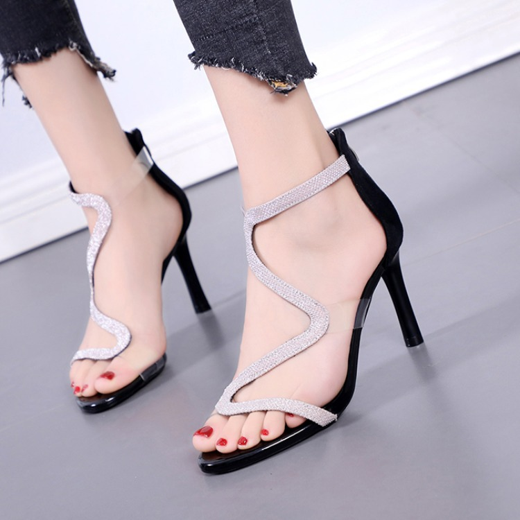 Fashion Womens Shoes 2020 Sandals Stiletto Heels Suit Female Beige All-Match Luxury Plastic Low Heeled Sexy Summer Ladies(China)