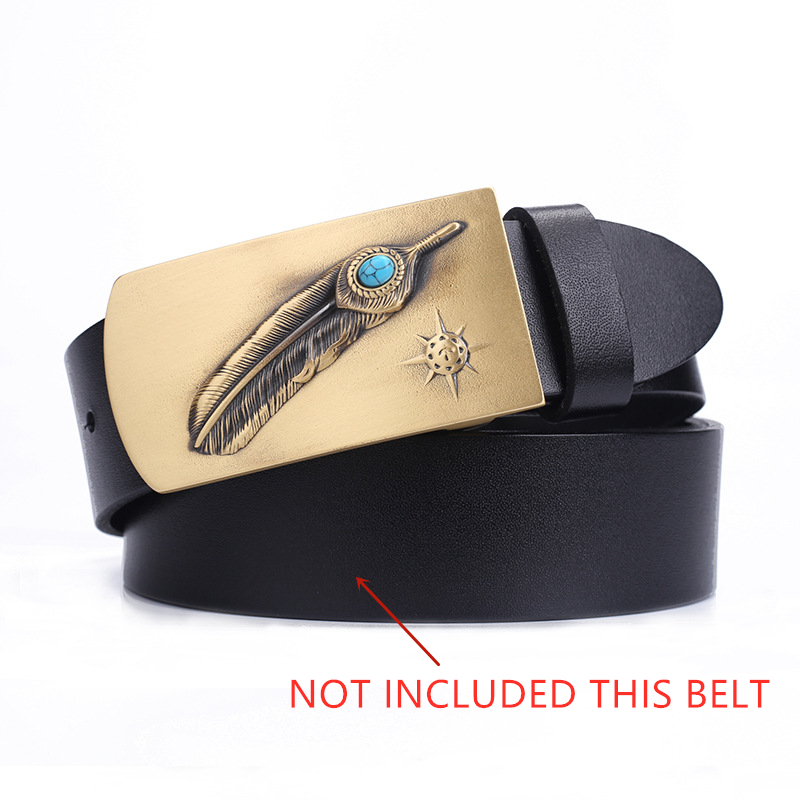Feather & Turquoise Belt Buckle Pure Brass Western Cowboy Mens Accessory