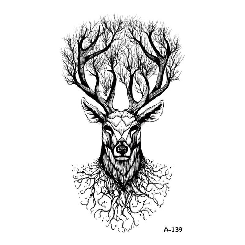 Wyuen nový design lesní jelen falešné tetování nepromokavé dočasné rameno Tatoo samolepky pro ženy Muži Body Art Tetování A-139