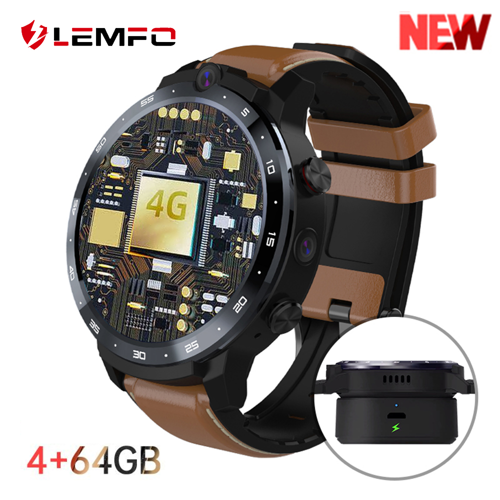 LEMFO LEM12 PRO Android 10 0 400 400 resolution HD screen GPS 4 64GB smart watch men for Android ios phone 900mah big battery