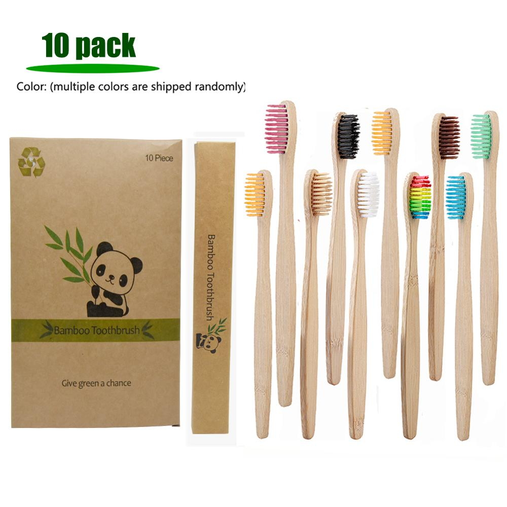 10 Pack Multiple Colors Soft Fibre Bio-based Bristles Environmentally Bamboo ToothBrush Adult Teeth Clean Travel Tooth Brush