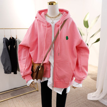 Hooded-Sweatshirt Pockets Long-Sleeve Loose Women Solid Full with Jogging Casual