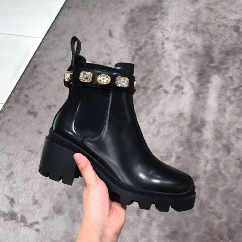 Женская обувь на толстой платформе Botte Pour Femme, обувь «Челси» из эластичной ткани на рифленой подошве со стразами, короткие ботинки, ботинки