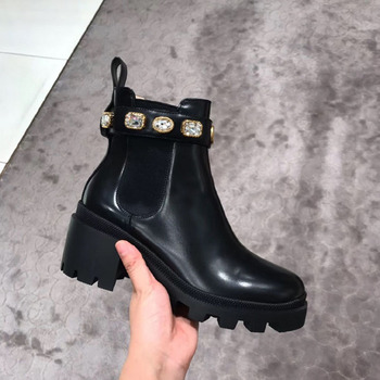 2019 Winter Botte Pour Femme New Thick-bottomed Muffin Stretch Cloth Rhinestone Chelsea Shoes Short Boots Ankle Flat Martin Boot