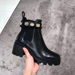 2019 invierno Botte para mujer nuevo grueso-bottomed Muffin Stretch Cloth Rhinestone Chelsea zapatos botas cortas tobillo botas planas Martin