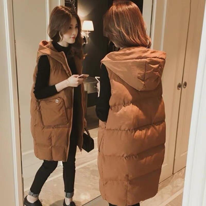 Hooded Down Cotton Vest Female Coat Winter Long Loose Large Size Waistcoat Vest Women Warm Thicken Pockets Vest Coat Solid Q2085