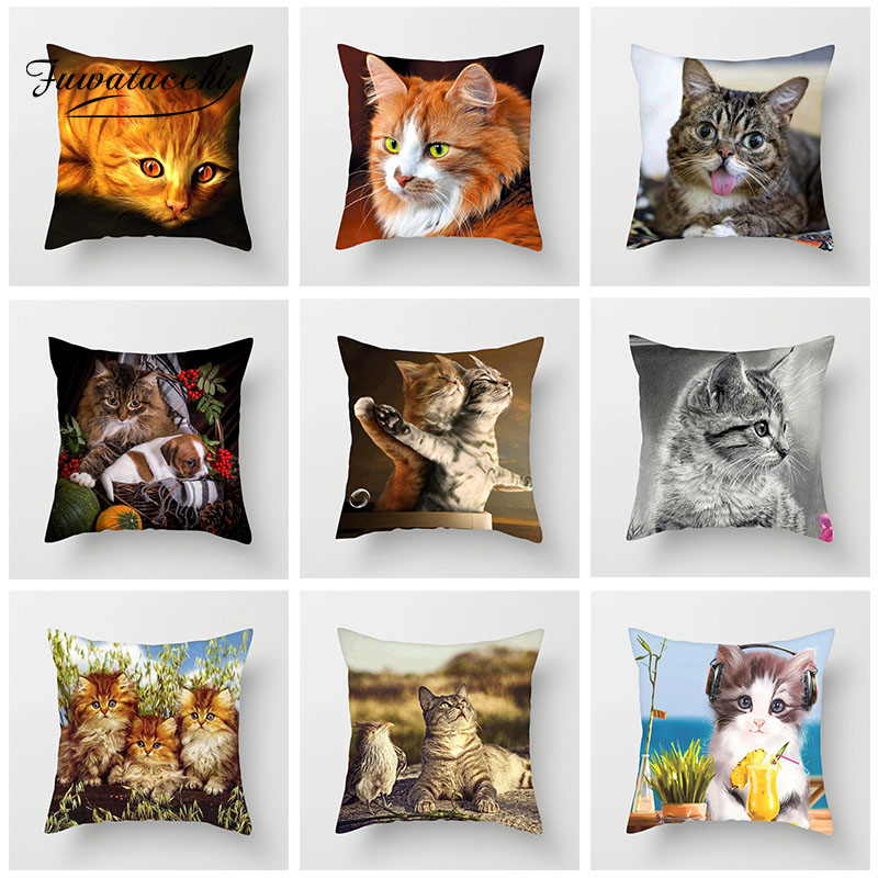 Fuwatacchi Cute Cat Printing Cushion Cover Animal Series Cushion Covers For Sofa Throw Pillow Car Chair Decorative Pillow Case