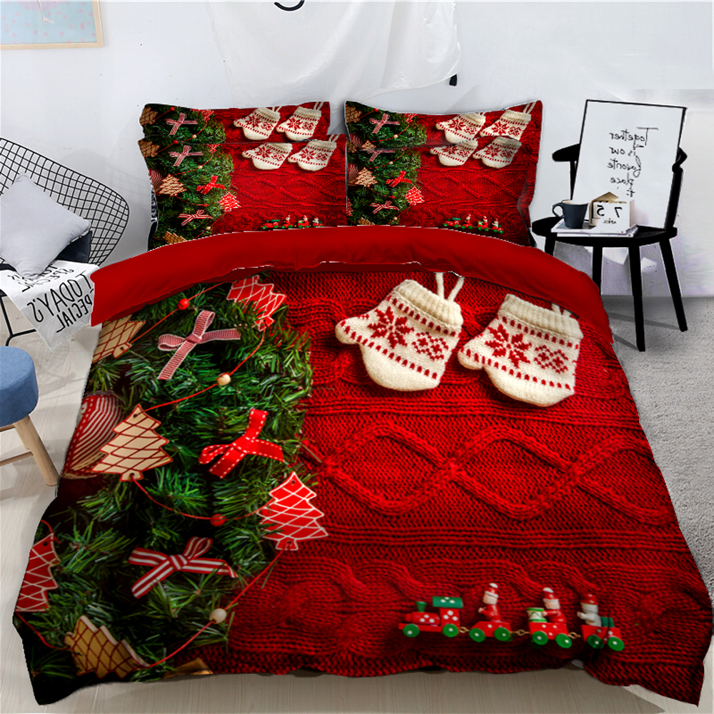Fashion Christmas Print Bedding set Green Christmas Tree Pattern Bed Comforter sets Home Textile Duvet Cover Pillowcase CPS-090