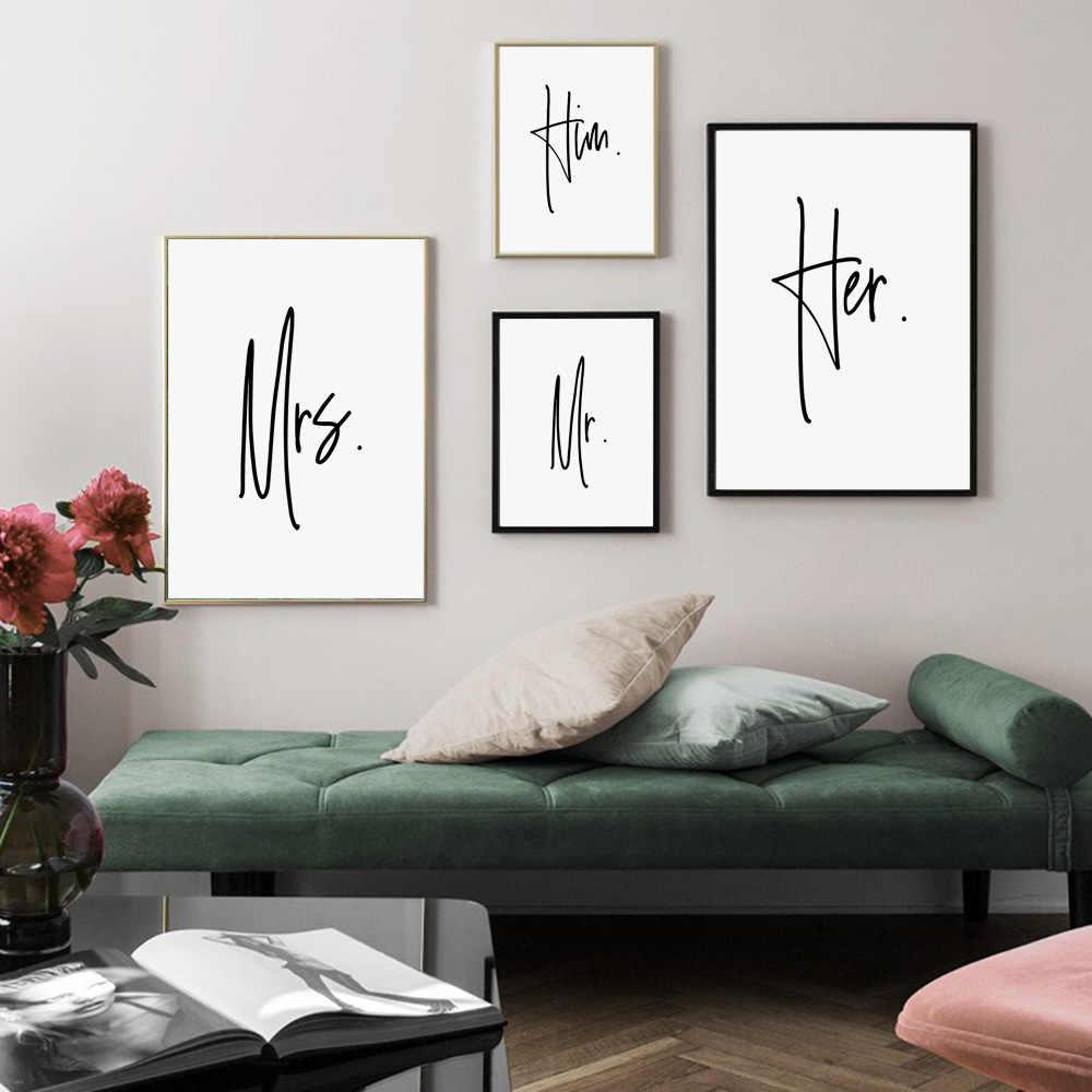 Mr Mrs onun Minimalist duvar sanatı tuval yağlıboya İskandinav posterler ve baskılar duvar resimleri için oturma odası çift yatak odası dekoru