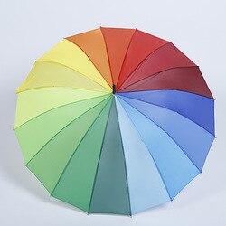 16 kości parasol tęczowy automatyczne biegun prosty parasol hurtownia długi uchwyt parasol reklamowy kreatywny prezent parasol Manu| |   -