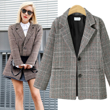 Vintage Coat Office Ladies Plaid Blazer Long Sleeve Loose Houndstooth Suit Jacket Women blazers Female 2019 Autumn winter