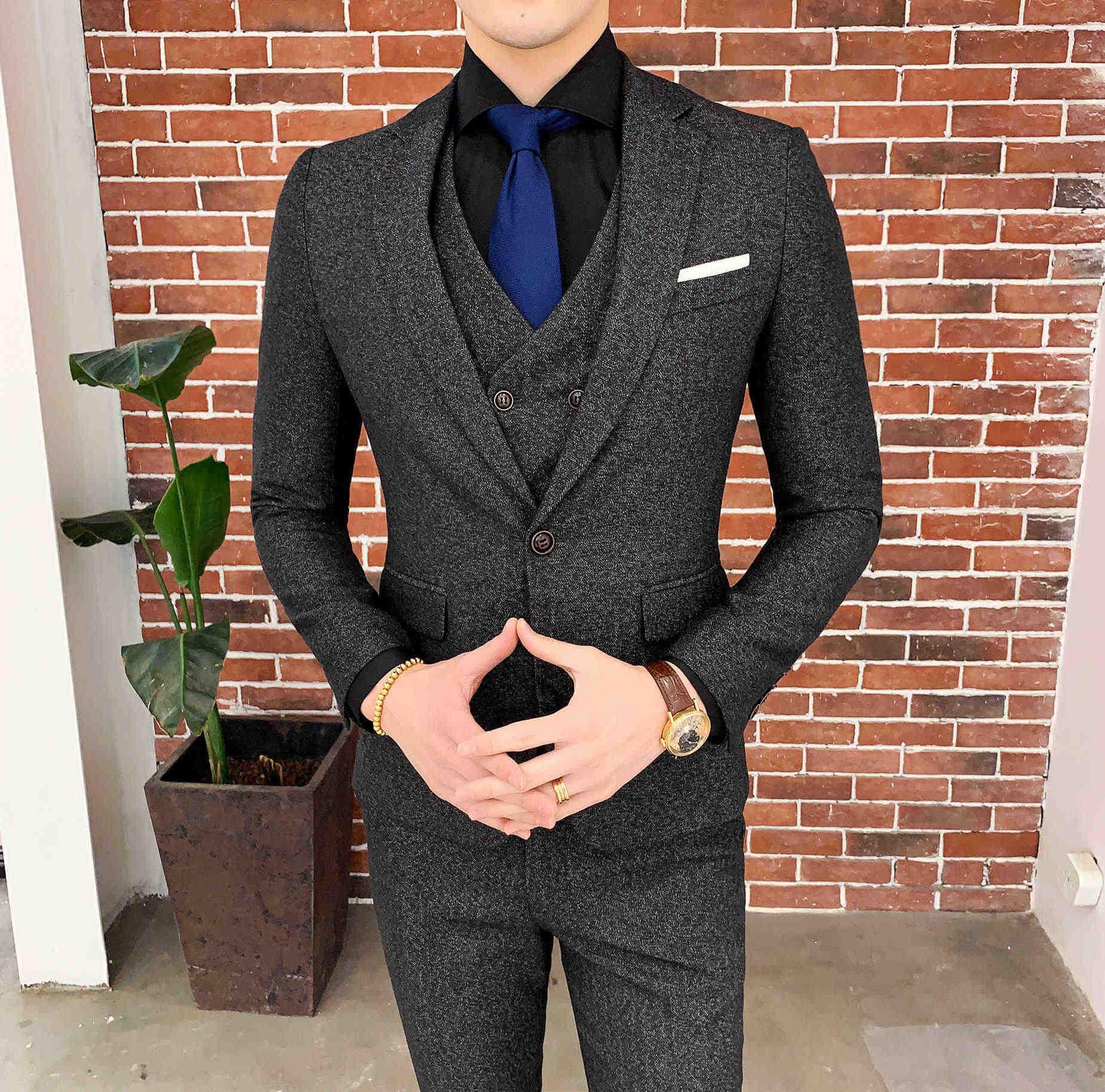 Brown espinha de peixe terno designer traje mariage homme ternos de festa smoking noivo casamento homem suittrajes para festa 6xl