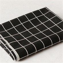 100*150cm Modern black and white gray plaid geometric printed linen cotton fabric for tablecloth curtain bed
