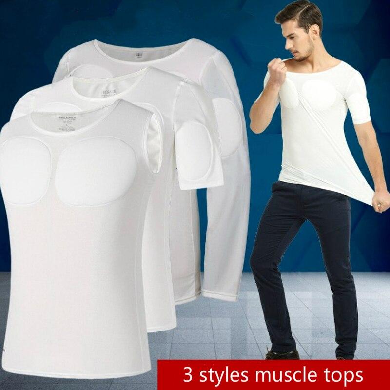 Sexy Underwear Strong Chest Shaper Soft Muscle Undershirt Men's Bodybuilding Paige's Enhancer