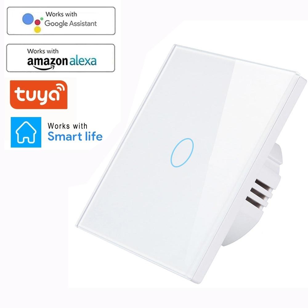 WIFI mur tactile capteur commutateur ue RF433 + WIFI interrupteur déclairage intelligent 1 2 3 Gang 220V Tuya Kit de maison intelligente Support Alexa Google Home