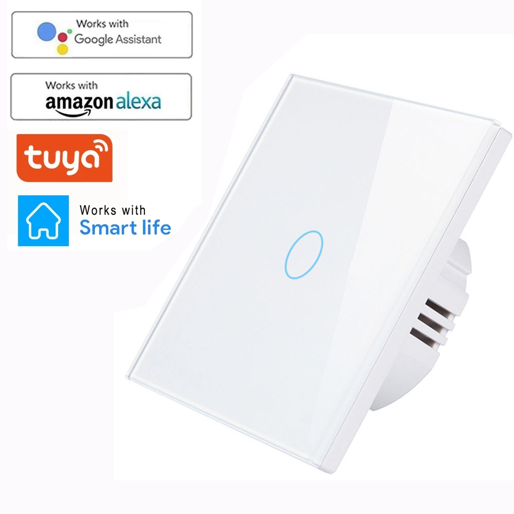 WIFI pared Sensor táctil interruptor de la UE RF433 + WIFI inteligente interruptor de luz tableta amortiguador Tech accesorio beige Rojo Negro compruebe Tartan tableta amortiguador banda 220V Tuya inteligente Kit de Casa apoyo Alexa de Google